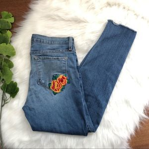 Flying Monkey | Floral Embroidered Skinny Jean Raw
